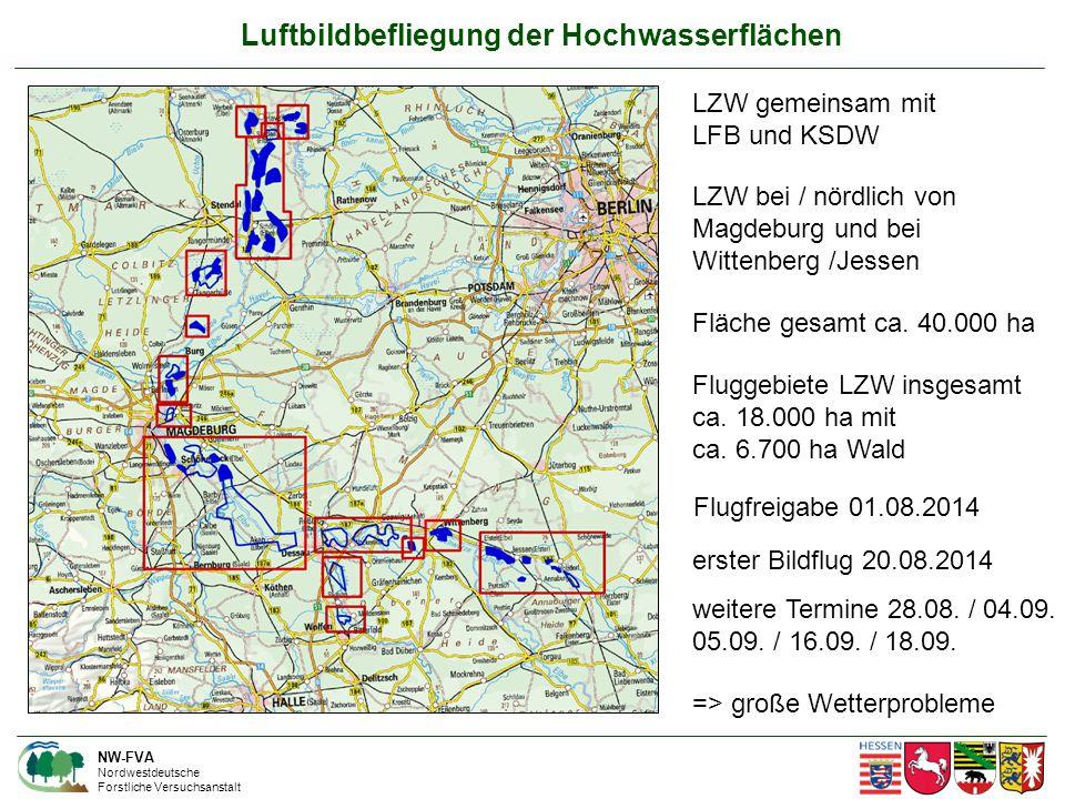 Luftbildbefliegung der Hochwasserflächen NW-FVA Nordwestdeutsche Forstliche Versuchsanstalt LZW gemeinsam mit LFB und KSDW LZW bei / nördlich von Magdeburg und bei Wittenberg /Jessen Fluggebiete LZW insgesamt ca.