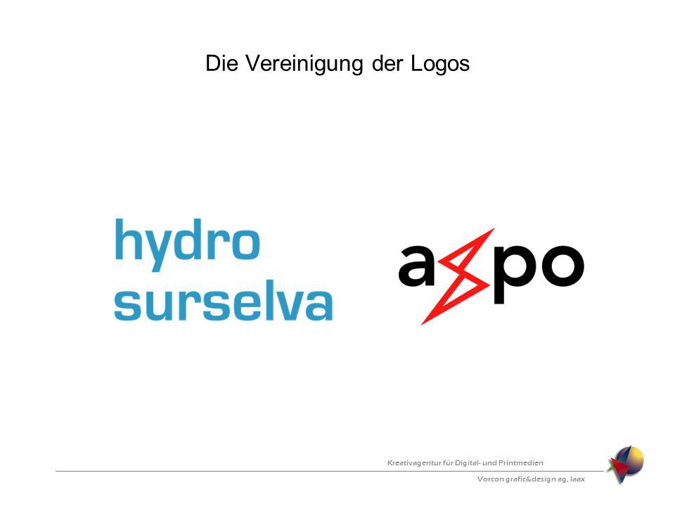 Die Vereinigung der Logos Vorcon grafic&design ag, laax Kreativagentur für Digital- und Printmedien