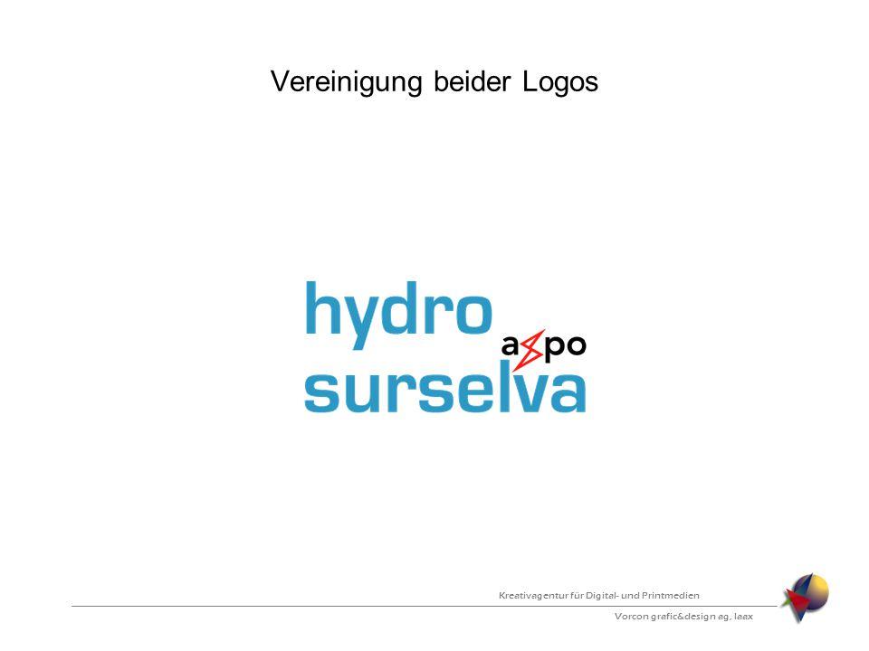 Vereinigung beider Logos Vorcon grafic&design ag, laax Kreativagentur für Digital- und Printmedien