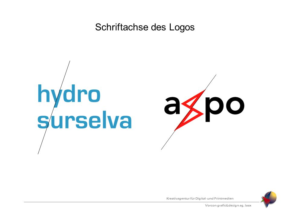 Schriftachse des Logos Vorcon grafic&design ag, laax Kreativagentur für Digital- und Printmedien