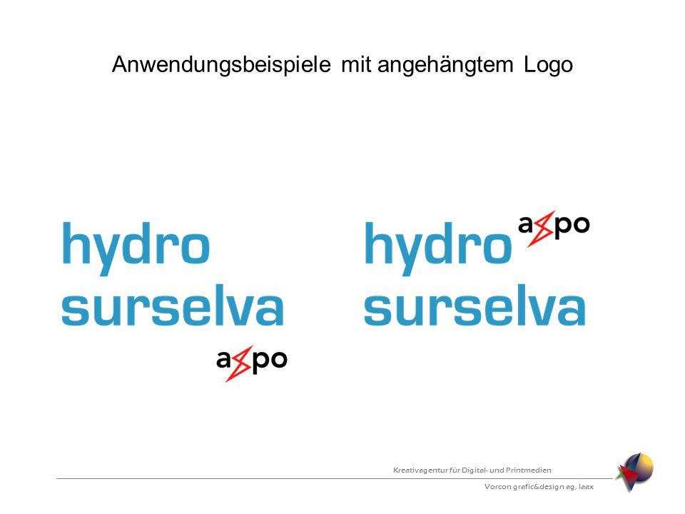 Anwendungsbeispiele mit angehängtem Logo Vorcon grafic&design ag, laax Kreativagentur für Digital- und Printmedien