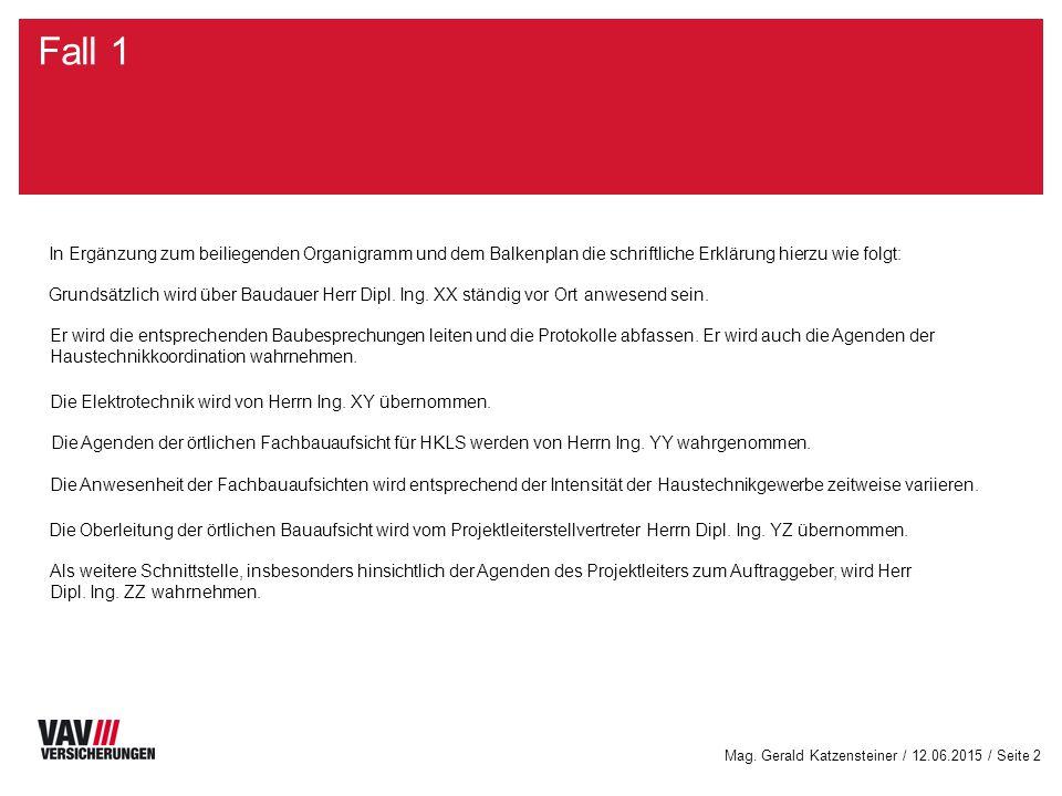 Mag. Gerald Katzensteiner / 12.06.2015 / Seite 2 Fall 1 In Ergänzung zum beiliegenden Organigramm und dem Balkenplan die schriftliche Erklärung hierzu