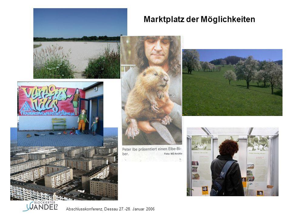 Abschlusskonferenz, Dessau 27.-28. Januar 2006 Marktplatz der Möglichkeiten