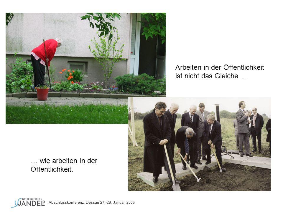 Arbeiten in der Öffentlichkeit ist nicht das Gleiche … … wie arbeiten in der Öffentlichkeit. Abschlusskonferenz, Dessau 27.-28. Januar 2006