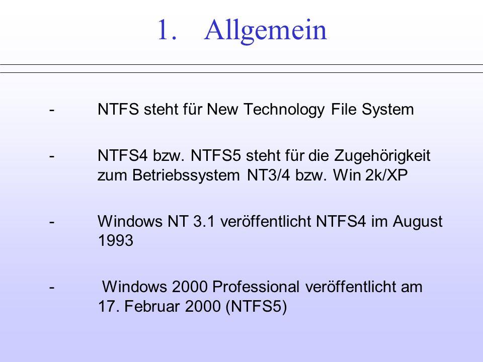 1.Allgemein -NTFS steht für New Technology File System -NTFS4 bzw.
