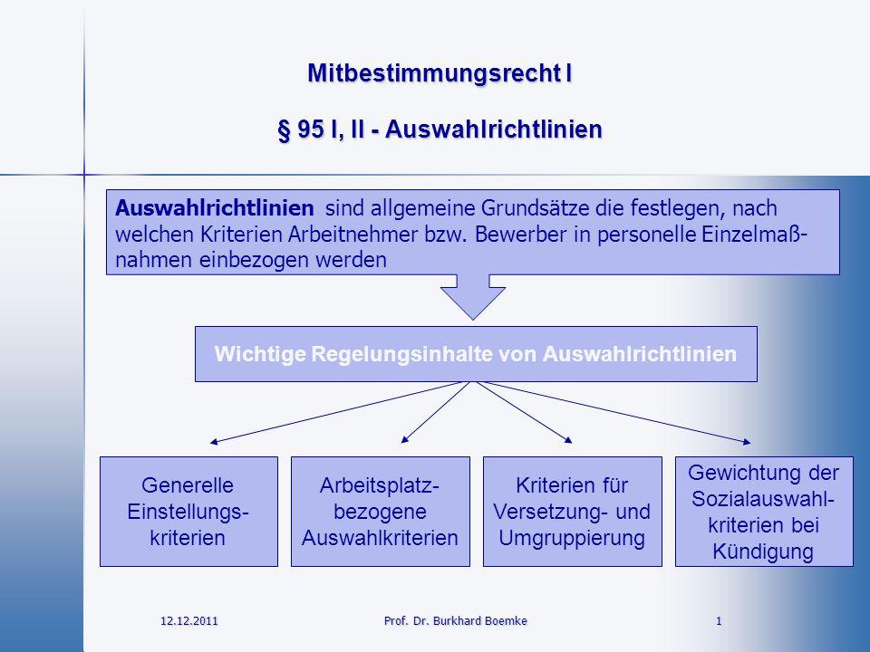 Mitbestimmungsrecht I 12.12.2011 1Prof. Dr. Burkhard Boemke § 95 I, II - Auswahlrichtlinien Wichtige Regelungsinhalte von Auswahlrichtlinien Generelle