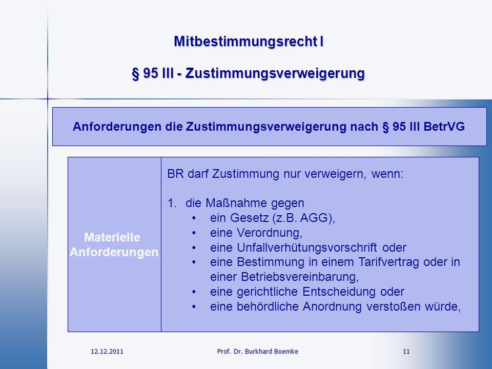 Mitbestimmungsrecht I 12.12.2011 11Prof. Dr. Burkhard Boemke § 95 III - Zustimmungsverweigerung Materielle Anforderungen BR darf Zustimmung nur verwei