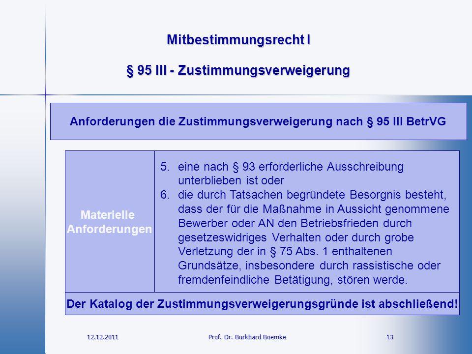Mitbestimmungsrecht I 12.12.2011 13Prof. Dr. Burkhard Boemke § 95 III - Zustimmungsverweigerung Materielle Anforderungen 5.eine nach § 93 erforderlich