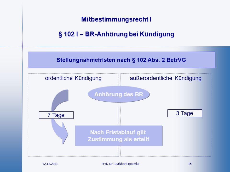 Mitbestimmungsrecht I 12.12.2011 15 15 Prof. Dr. Burkhard Boemke § 102 I – BR-Anhörung bei Kündigung Stellungnahmefristen nach § 102 Abs. 2 BetrVG Anh
