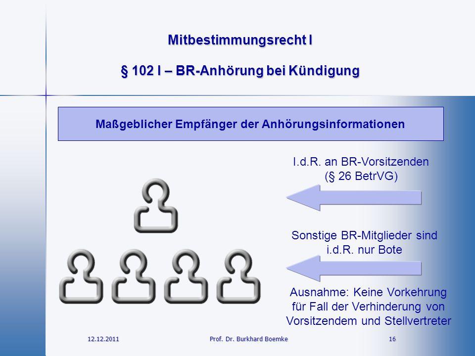 Mitbestimmungsrecht I 12.12.2011 16 16 Prof. Dr. Burkhard Boemke § 102 I – BR-Anhörung bei Kündigung Maßgeblicher Empfänger der Anhörungsinformationen