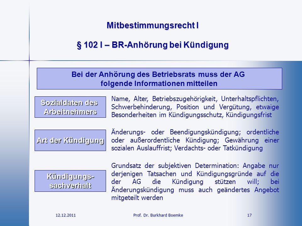 Mitbestimmungsrecht I 12.12.2011 17 17 Prof. Dr. Burkhard Boemke § 102 I – BR-Anhörung bei Kündigung Name, Alter, Betriebszugehörigkeit, Unterhaltspfl