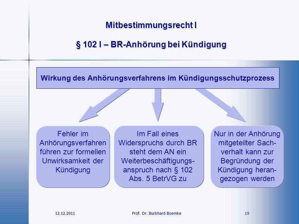 Mitbestimmungsrecht I 12.12.2011 19 19 Prof. Dr. Burkhard Boemke § 102 I – BR-Anhörung bei Kündigung Wirkung des Anhörungsverfahrens im Kündigungsschu