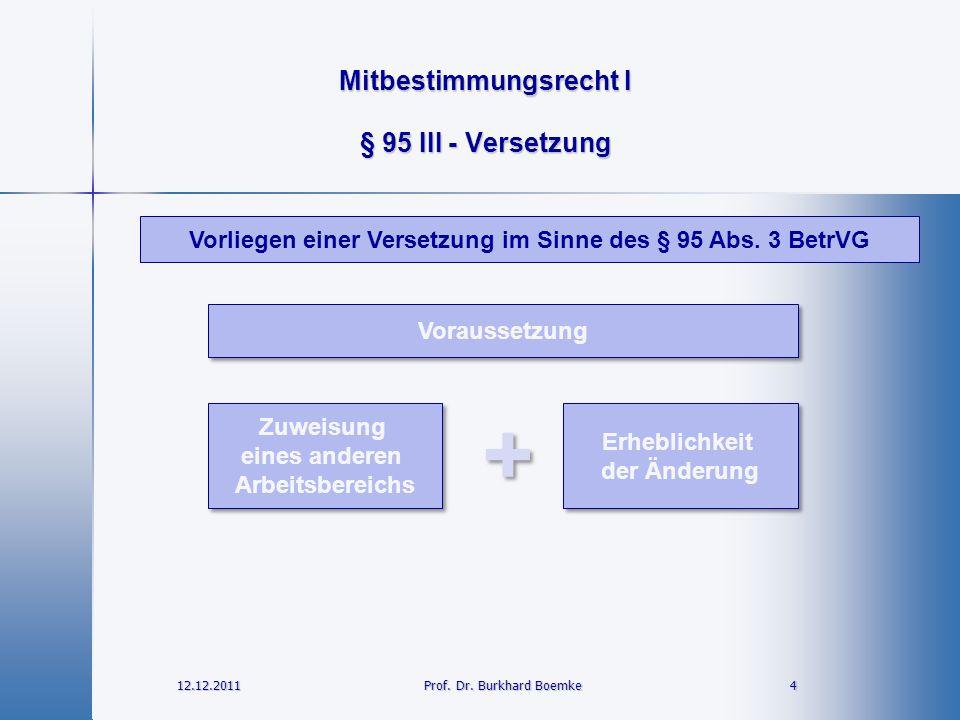Mitbestimmungsrecht I 12.12.2011 4Prof. Dr. Burkhard Boemke § 95 III - Versetzung Zuweisung eines anderen Arbeitsbereichs Zuweisung eines anderen Arbe