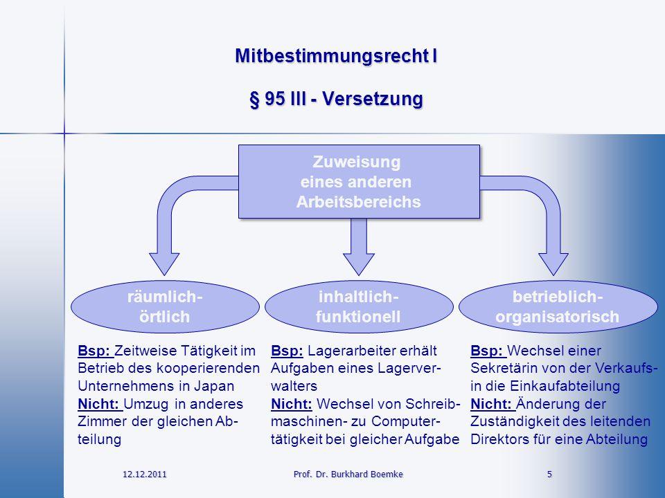 Mitbestimmungsrecht I 12.12.2011 5Prof. Dr. Burkhard Boemke § 95 III - Versetzung Zuweisung eines anderen Arbeitsbereichs Zuweisung eines anderen Arbe