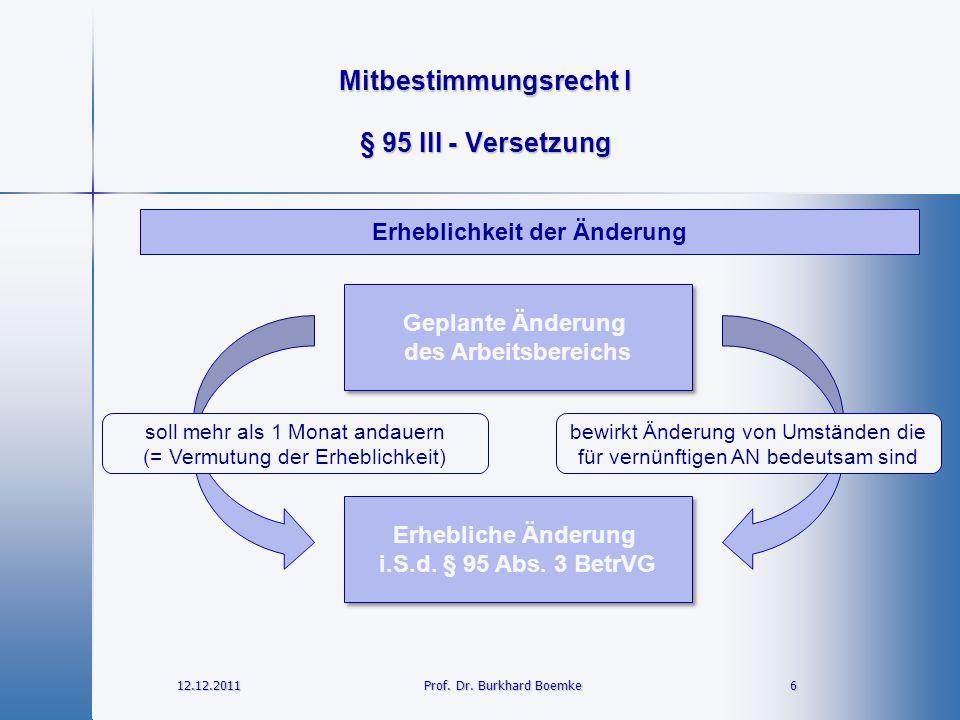 Mitbestimmungsrecht I 12.12.2011 6Prof. Dr. Burkhard Boemke § 95 III - Versetzung Erhebliche Änderung i.S.d. § 95 Abs. 3 BetrVG Erhebliche Änderung i.