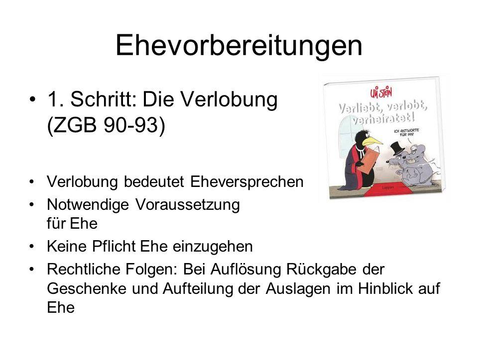 Ehevorbereitung (ZGB 97-100) Gesuch beim Zivilstandsamt (persönlich erscheinen) und folgende Unterlagen mitbringen: Wohnsitzbestätigung Auszug aus Familienregister Heimatschein Familienbüchlein