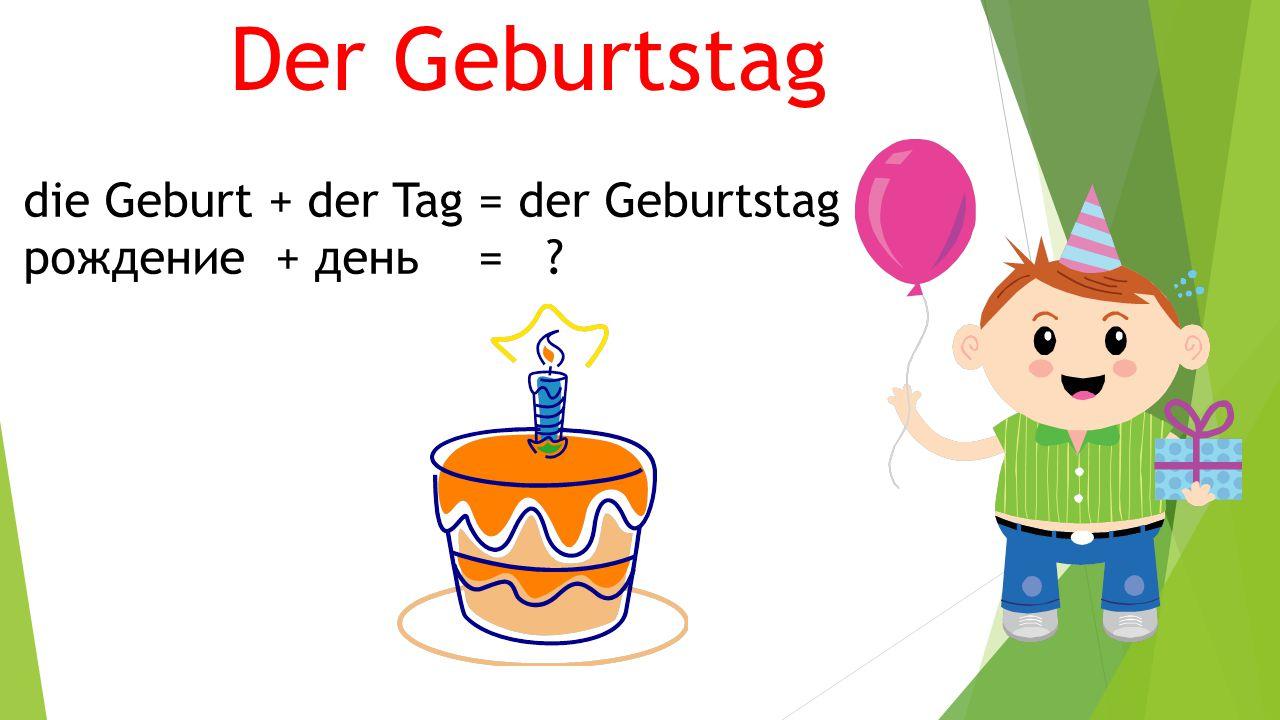 Der Geburtstag die Geburt + der Tag = der Geburtstag рождение + день = ?