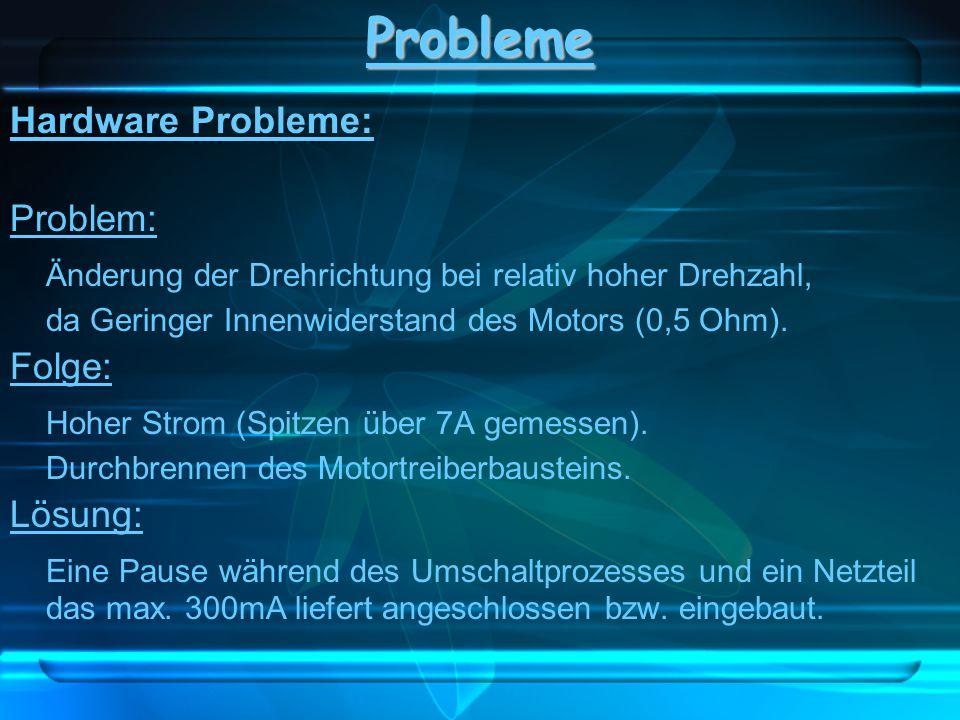 Hardware Probleme: Problem: Änderung der Drehrichtung bei relativ hoher Drehzahl, da Geringer Innenwiderstand des Motors (0,5 Ohm). Folge: Hoher Strom