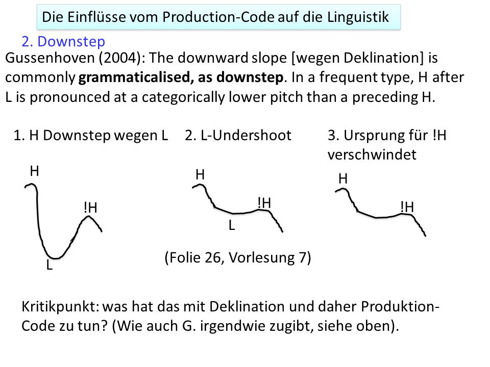Die Einflüsse vom Production-Code auf die Linguistik 1.