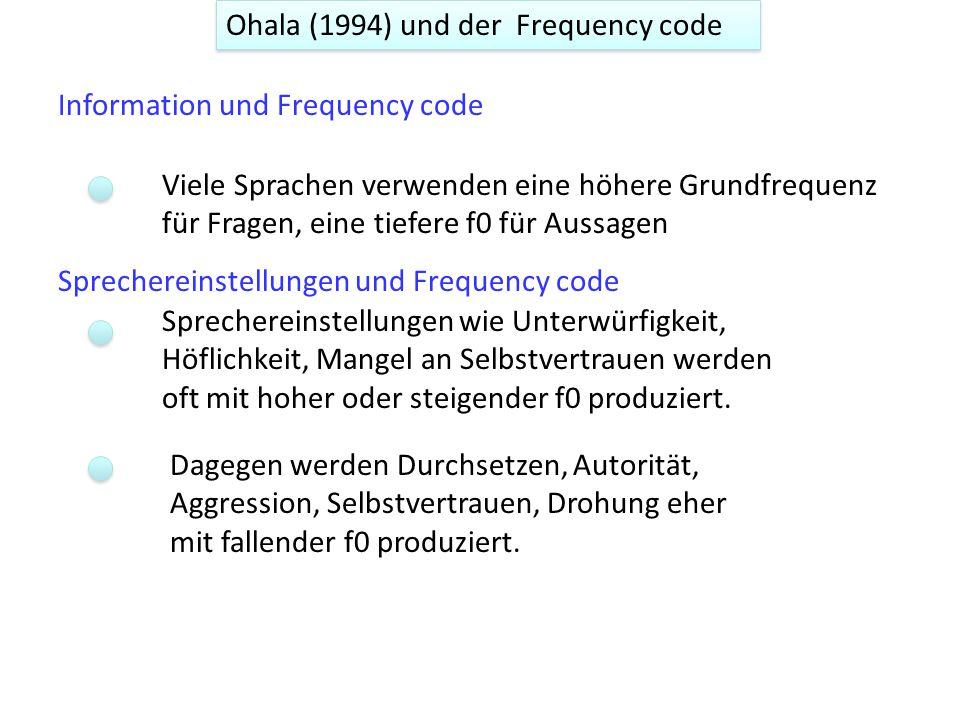 Ohala (1994) und der Frequency code Information und Frequency code Sprechereinstellungen und Frequency code Viele Sprachen verwenden eine höhere Grundfrequenz für Fragen, eine tiefere f0 für Aussagen Sprechereinstellungen wie Unterwürfigkeit, Höflichkeit, Mangel an Selbstvertrauen werden oft mit hoher oder steigender f0 produziert.