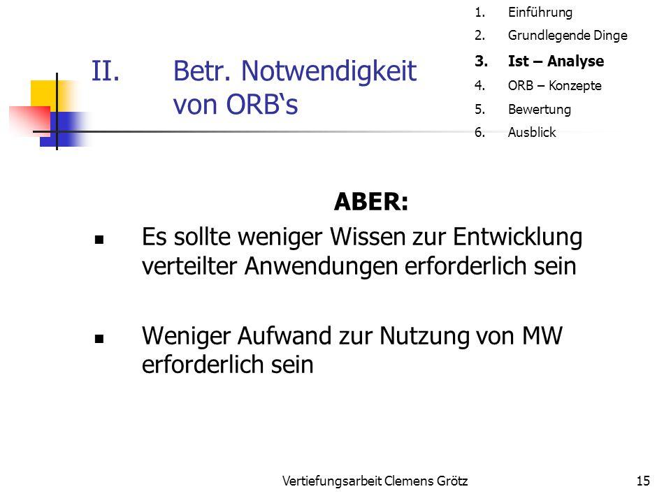 Vertiefungsarbeit Clemens Grötz15 II.Betr. Notwendigkeit von ORB's ABER: Es sollte weniger Wissen zur Entwicklung verteilter Anwendungen erforderlich