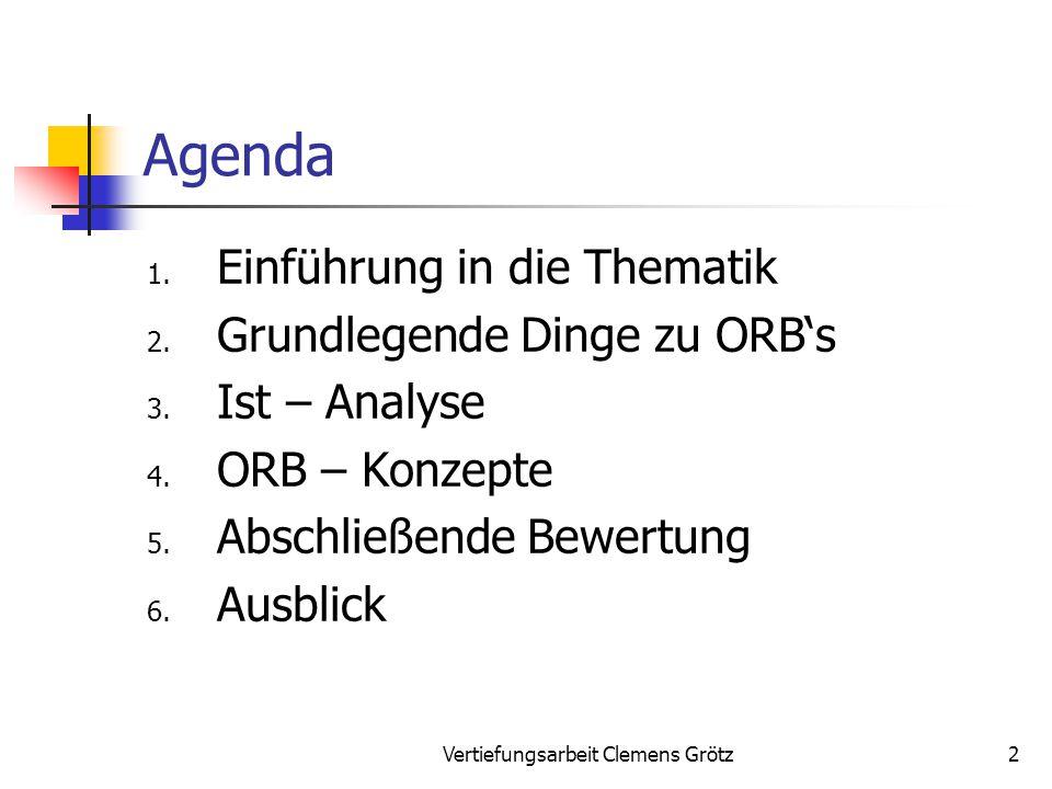 Vertiefungsarbeit Clemens Grötz33 5.Bewertung Fazit J2EE (Sun): Mit J2EE steht ein neues Tool für ORB's zu Verfügung mit den Vorteilen der → Plattformunabhängigkeit (mit JVM und JDK) → Verwendung von standardisierten Schnitt- stellen 1.Einführung 2.Grundlegende Dinge 3.Ist – Analyse 4.ORB – Konzepte 5.Bewertung 6.Ausblick