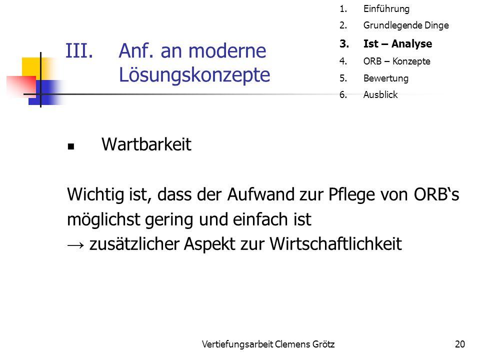 Vertiefungsarbeit Clemens Grötz20 III.Anf. an moderne Lösungskonzepte Wartbarkeit Wichtig ist, dass der Aufwand zur Pflege von ORB's möglichst gering
