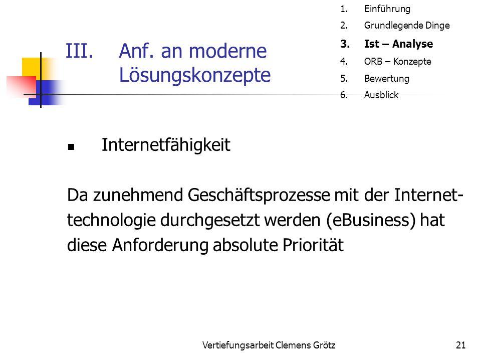 Vertiefungsarbeit Clemens Grötz21 III.Anf. an moderne Lösungskonzepte Internetfähigkeit Da zunehmend Geschäftsprozesse mit der Internet- technologie d