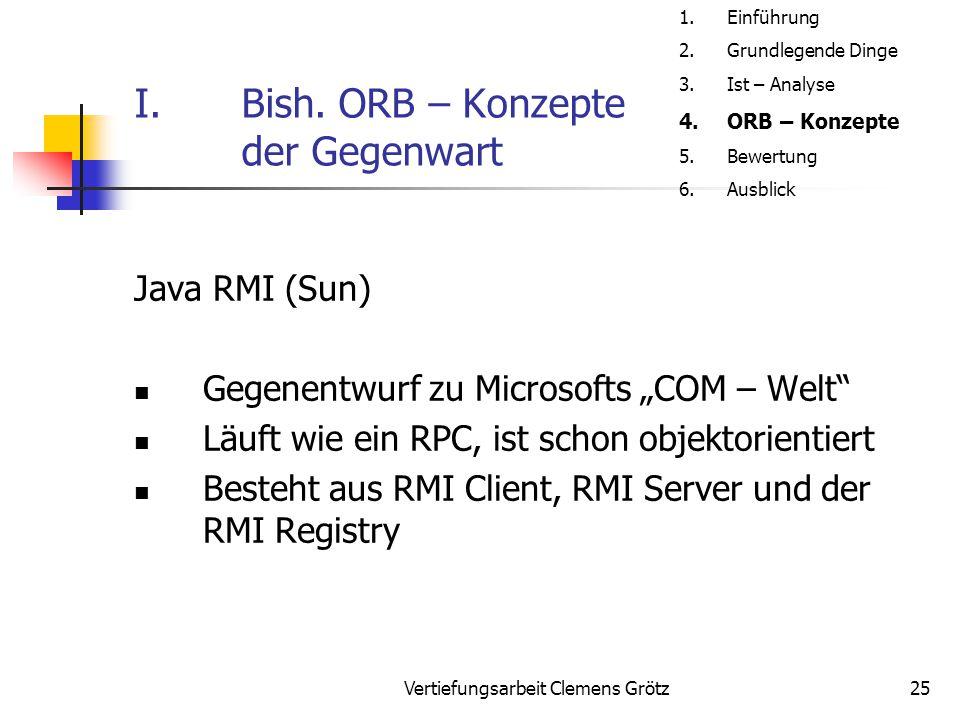 """Vertiefungsarbeit Clemens Grötz25 I.Bish. ORB – Konzepte der Gegenwart Java RMI (Sun) Gegenentwurf zu Microsofts """"COM – Welt"""" Läuft wie ein RPC, ist s"""