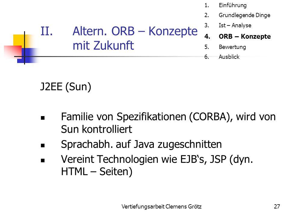 Vertiefungsarbeit Clemens Grötz27 II.Altern. ORB – Konzepte mit Zukunft J2EE (Sun) Familie von Spezifikationen (CORBA), wird von Sun kontrolliert Spra