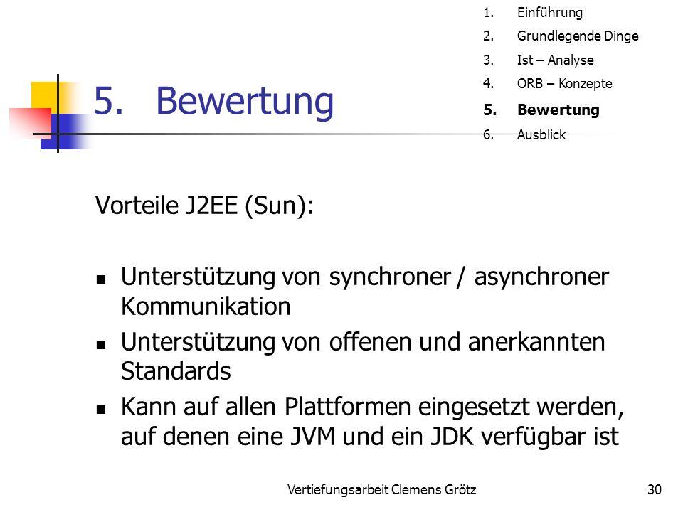 Vertiefungsarbeit Clemens Grötz30 5.Bewertung Vorteile J2EE (Sun): Unterstützung von synchroner / asynchroner Kommunikation Unterstützung von offenen