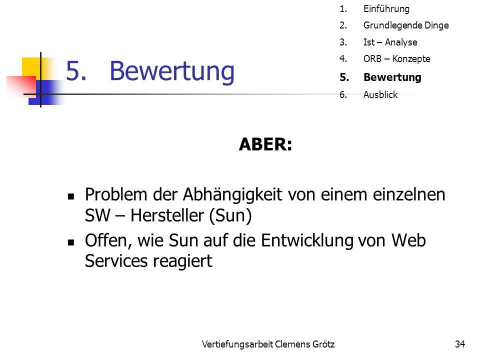 Vertiefungsarbeit Clemens Grötz34 5.Bewertung ABER: Problem der Abhängigkeit von einem einzelnen SW – Hersteller (Sun) Offen, wie Sun auf die Entwicklung von Web Services reagiert 1.Einführung 2.Grundlegende Dinge 3.Ist – Analyse 4.ORB – Konzepte 5.Bewertung 6.Ausblick