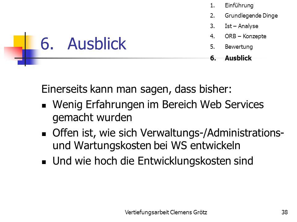 Vertiefungsarbeit Clemens Grötz38 6.Ausblick Einerseits kann man sagen, dass bisher: Wenig Erfahrungen im Bereich Web Services gemacht wurden Offen is