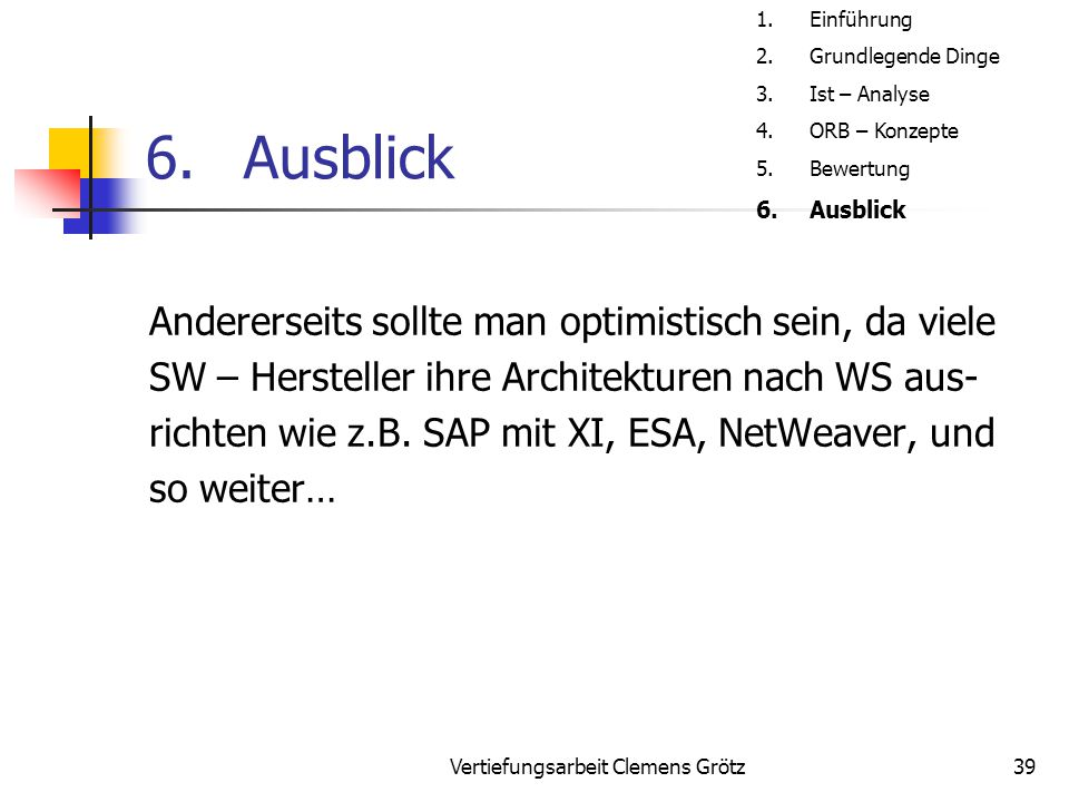 Vertiefungsarbeit Clemens Grötz39 6.Ausblick Andererseits sollte man optimistisch sein, da viele SW – Hersteller ihre Architekturen nach WS aus- richt