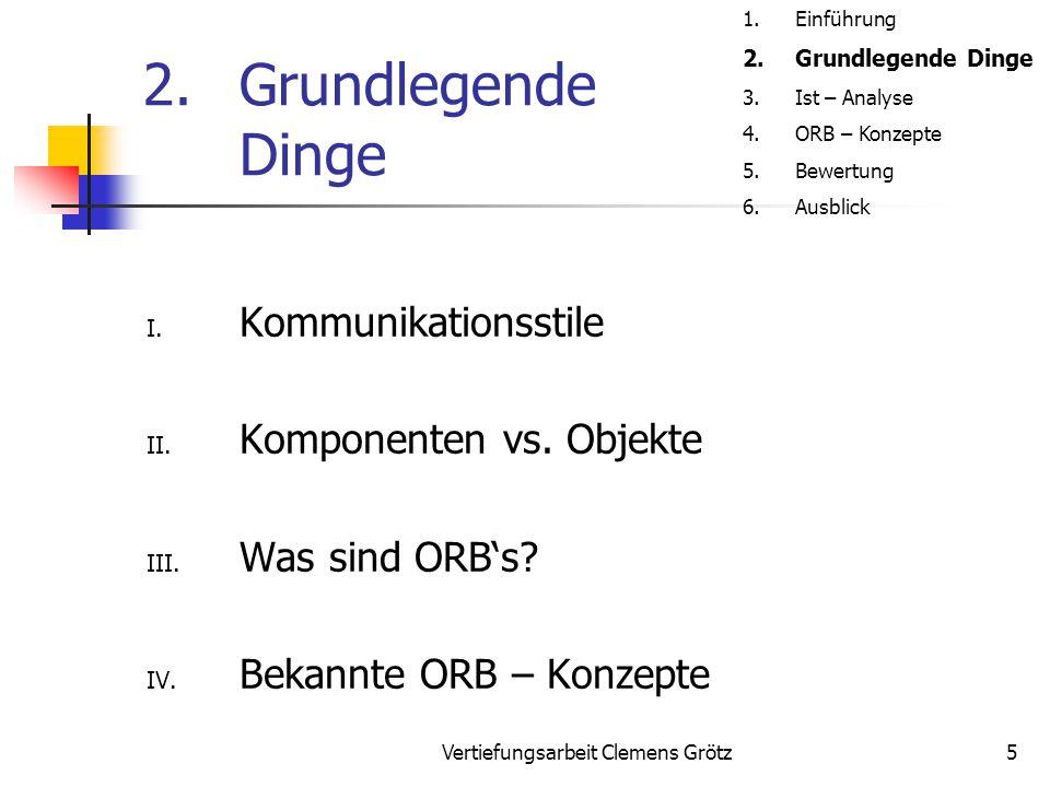 Vertiefungsarbeit Clemens Grötz5 2.Grundlegende Dinge I. Kommunikationsstile II. Komponenten vs. Objekte III. Was sind ORB's? IV. Bekannte ORB – Konze