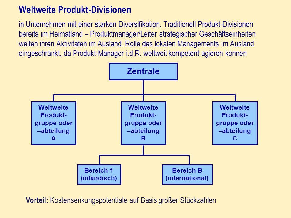 Weltweite Produkt-Divisionen. in Unternehmen mit einer starken Diversifikation. Traditionell Produkt-Divisionen bereits im Heimatland – Produktmanager