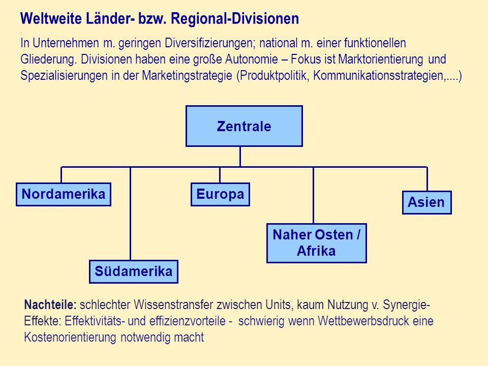 Weltweite Länder- bzw. Regional-Divisionen. In Unternehmen m. geringen Diversifizierungen; national m. einer funktionellen Gliederung. Divisionen habe