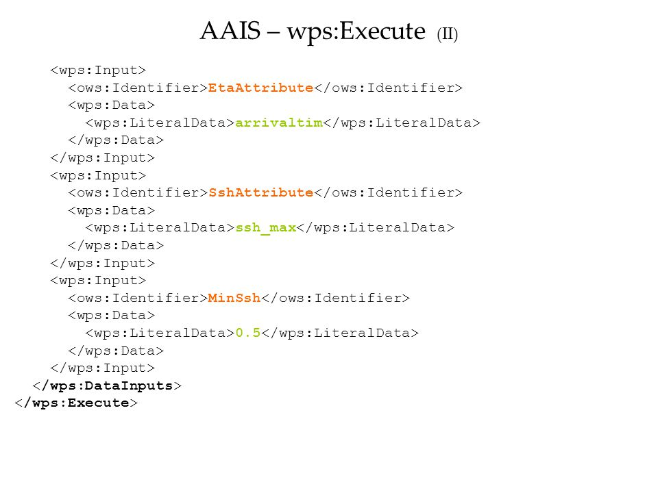EtaAttribute arrivaltim SshAttribute ssh_max MinSsh 0.5 AAIS – wps:Execute (II)