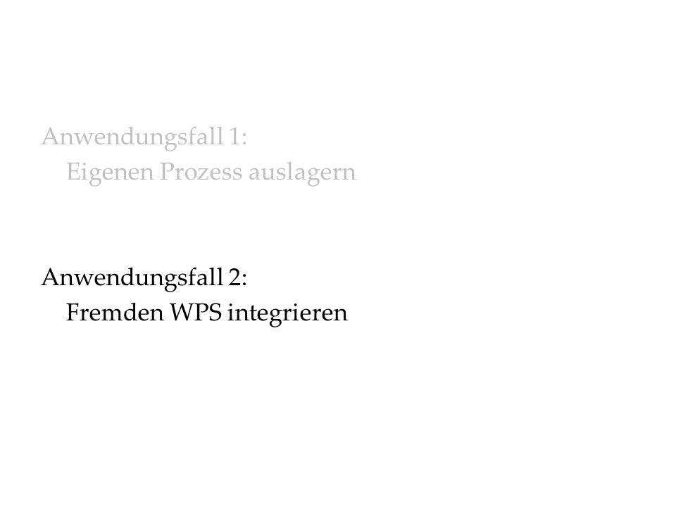Anwendungsfall 1: Eigenen Prozess auslagern Anwendungsfall 2: Fremden WPS integrieren