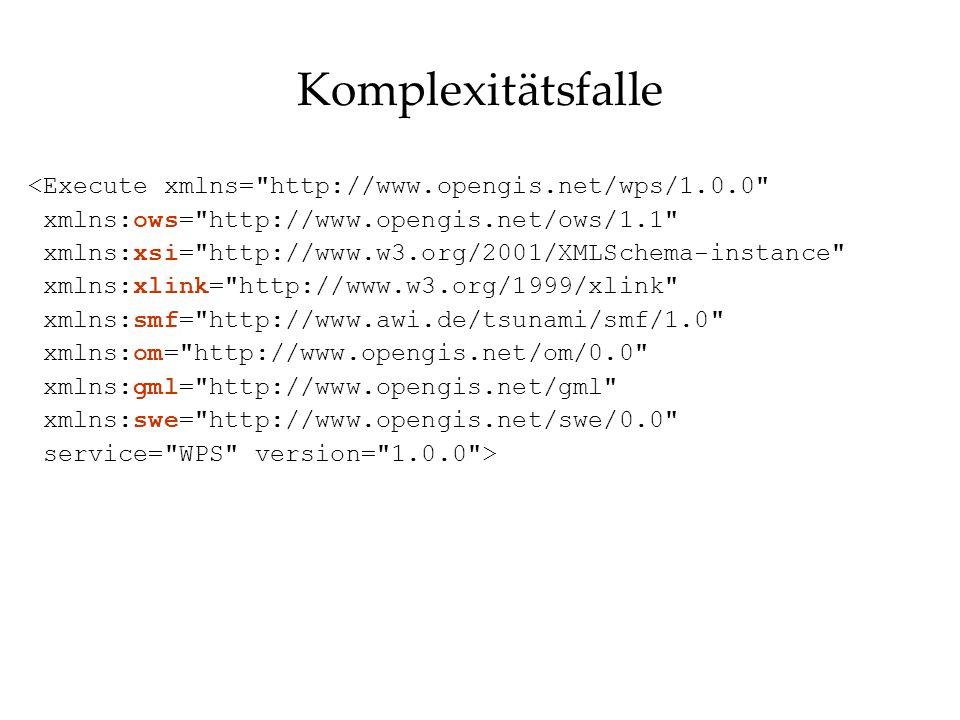 Komplexitätsfalle <Execute xmlns= http://www.opengis.net/wps/1.0.0 xmlns:ows= http://www.opengis.net/ows/1.1 xmlns:xsi= http://www.w3.org/2001/XMLSchema-instance xmlns:xlink= http://www.w3.org/1999/xlink xmlns:smf= http://www.awi.de/tsunami/smf/1.0 xmlns:om= http://www.opengis.net/om/0.0 xmlns:gml= http://www.opengis.net/gml xmlns:swe= http://www.opengis.net/swe/0.0 service= WPS version= 1.0.0 >