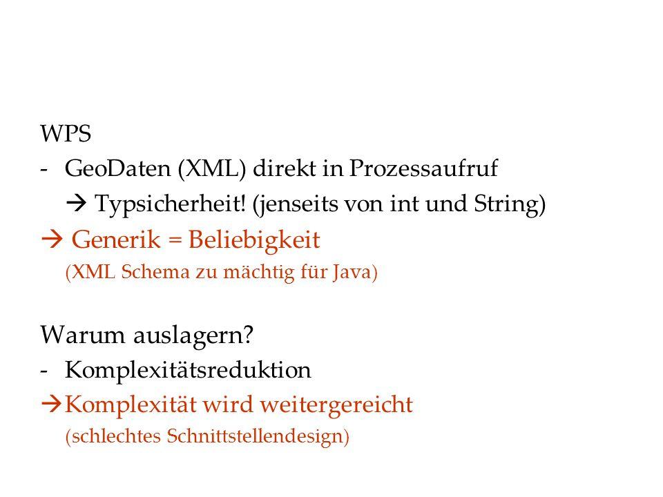 WPS -GeoDaten (XML) direkt in Prozessaufruf  Typsicherheit.