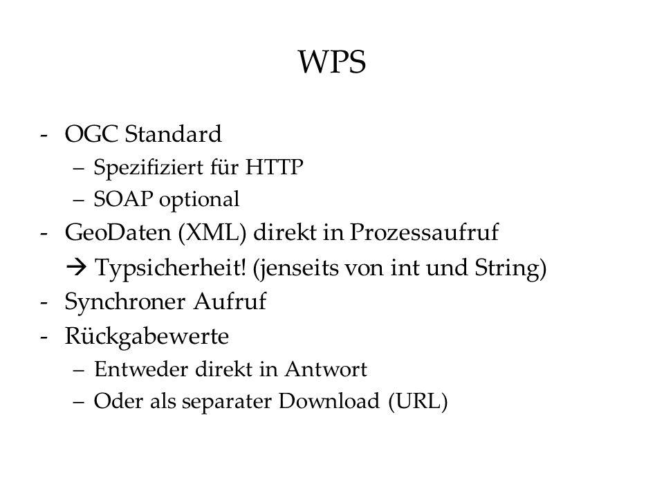 WPS -OGC Standard –Spezifiziert für HTTP –SOAP optional -GeoDaten (XML) direkt in Prozessaufruf  Typsicherheit.
