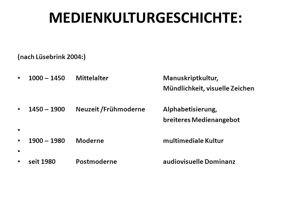MEDIENKULTURGESCHICHTE: (nach Lüsebrink 2004:) 1000 – 1450 MittelalterManuskriptkultur, Mündlichkeit, visuelle Zeichen 1450 – 1900 Neuzeit /Frühmodern