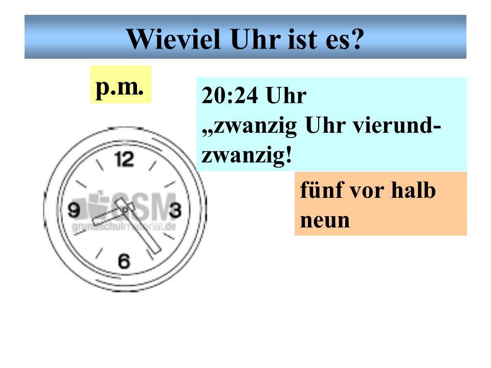 """Deutsche Uhrzeit 13:55 Uhr """"dreizehn Uhr fünf- undfünfzig"""" fünf vor zwei p.m. Wieviel Uhr ist es?"""