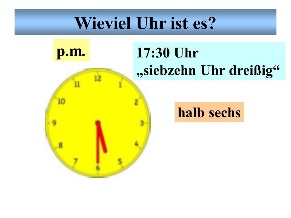 """Deutsche Uhrzeit 18:54 Uhr """"achtzehn Uhr vier- undfünfzig fünf vor sieben p.m. Wieviel Uhr ist es?"""