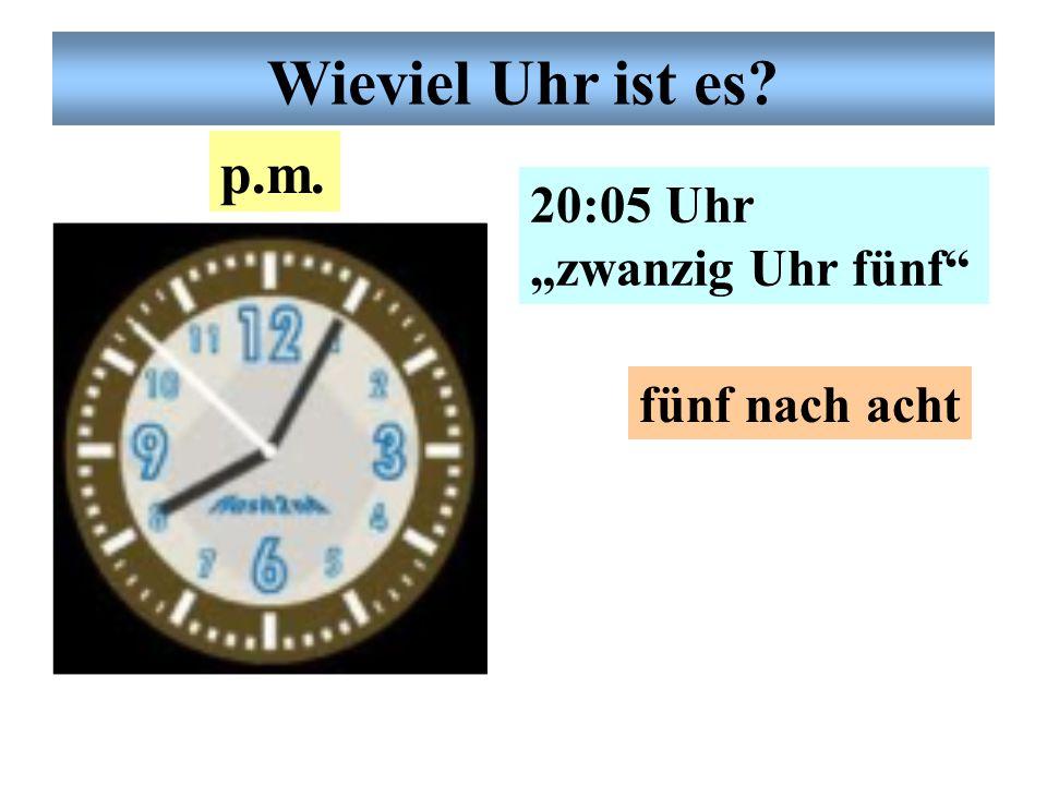 """Deutsche Uhrzeit 17:30 Uhr """"siebzehn Uhr dreißig"""" halb sechs p.m. Wieviel Uhr ist es?"""