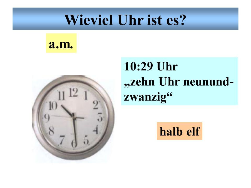 """Wieviel Uhr ist es? 10:10 Uhr """"zehn Uhr zehn"""" fünf vor viertel elf 10 nach 10 a.m."""