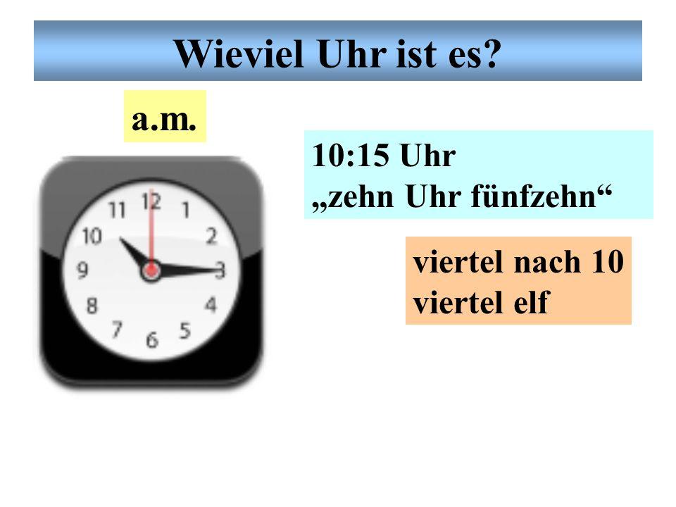 """Deutsche Uhrzeit 9:23 Uhr """"neun Uhr dreiund- zwanzig"""" fünf vor halb zehn a.m. Wieviel Uhr ist es?"""