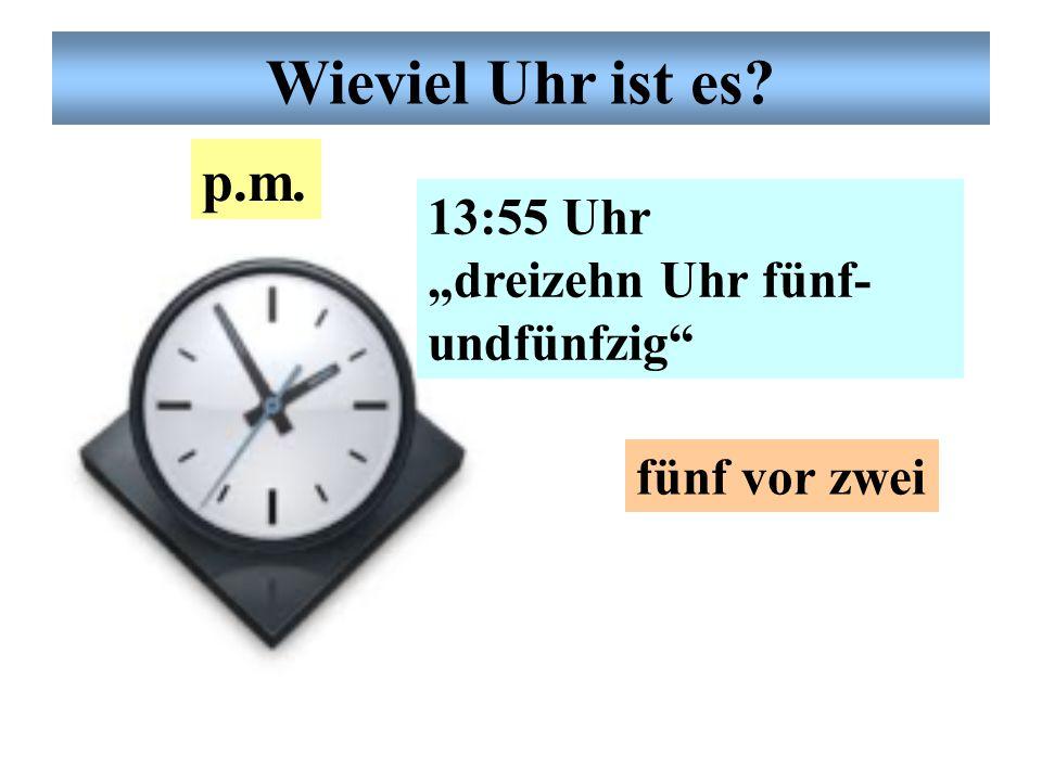 """Deutsche Uhrzeit 3:45 Uhr """"drei Uhr fünfund- vierzig"""" viertel vor vier dreiviertel vier a.m. Wieviel Uhr ist es?"""