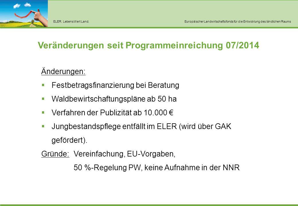 ELER. LebensWert Land.Europäischer Landwirtschaftsfonds für die Entwicklung des ländlichen Raums Veränderungen seit Programmeinreichung 07/2014 Änderu